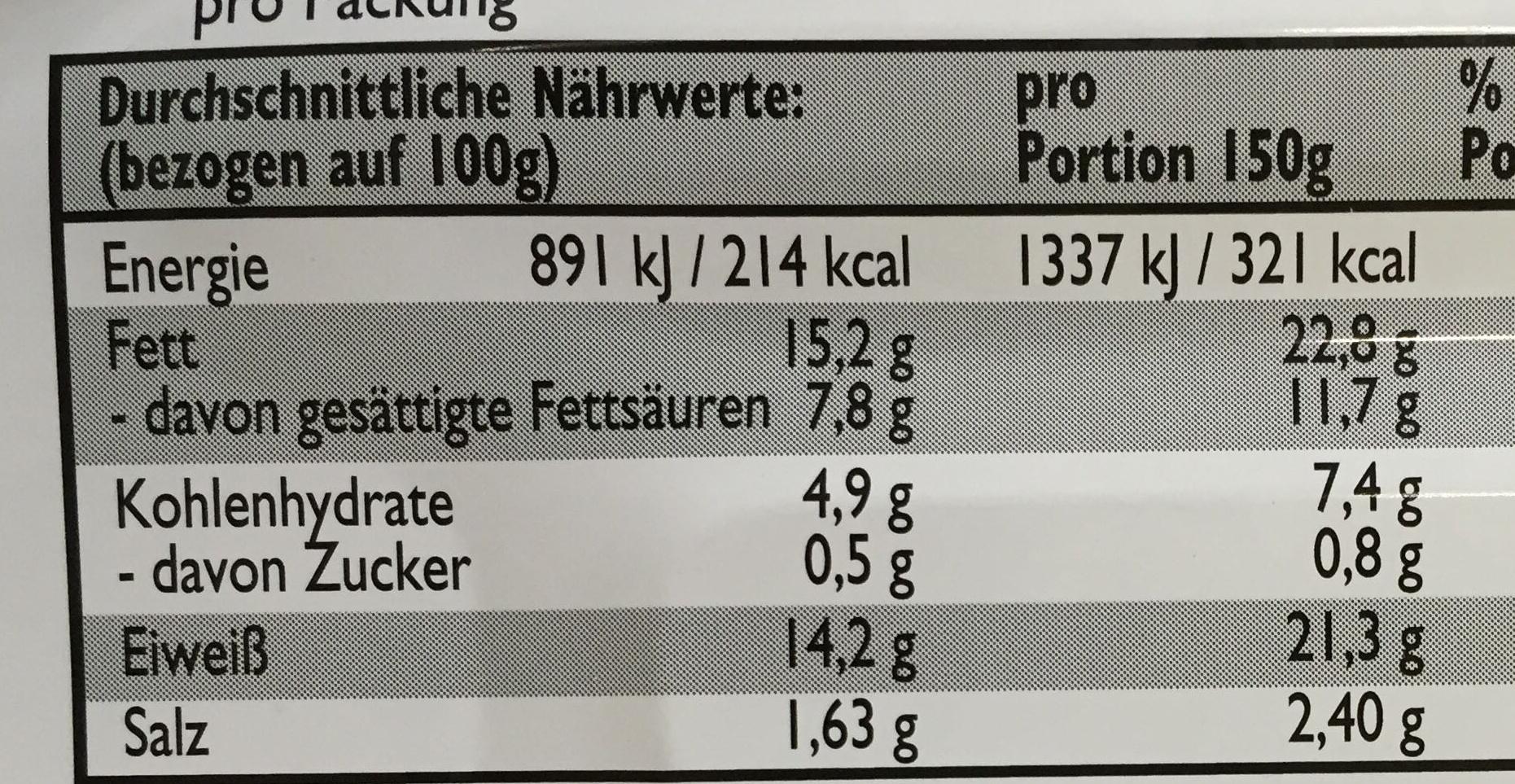 Bratheringe in feinwurziger marinade - Informations nutritionnelles - fr
