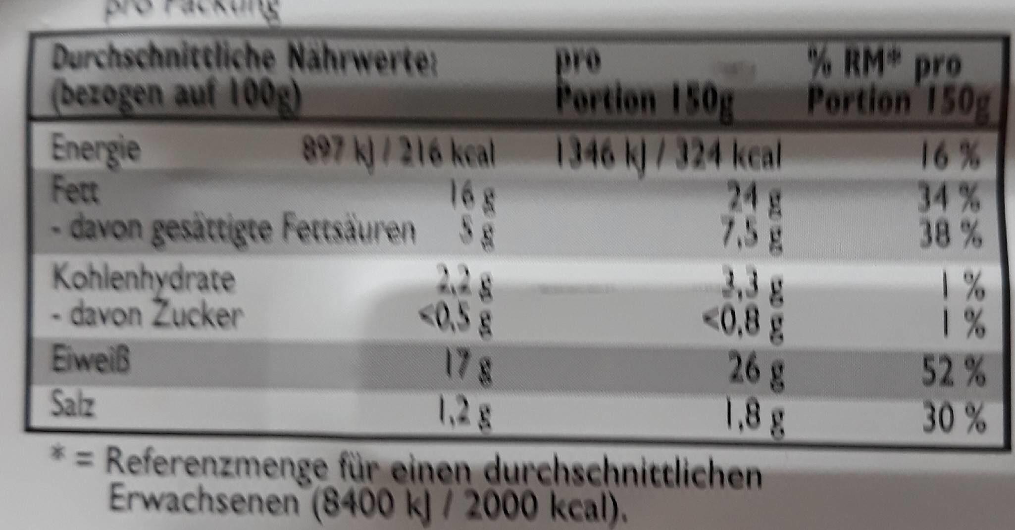 Bratheringe - Informations nutritionnelles - de