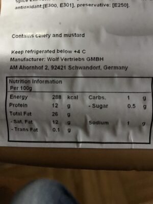 Winnies - Nutrition facts