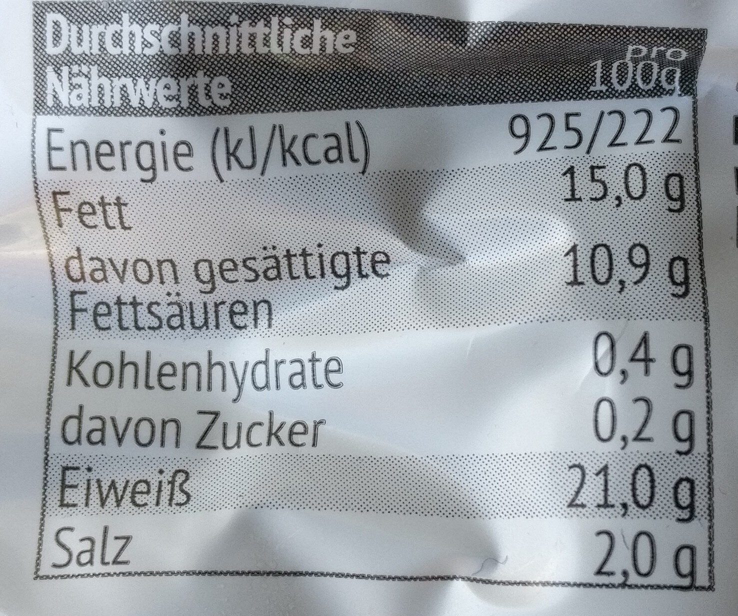 Mini Käse Berner - Nutrition facts - de