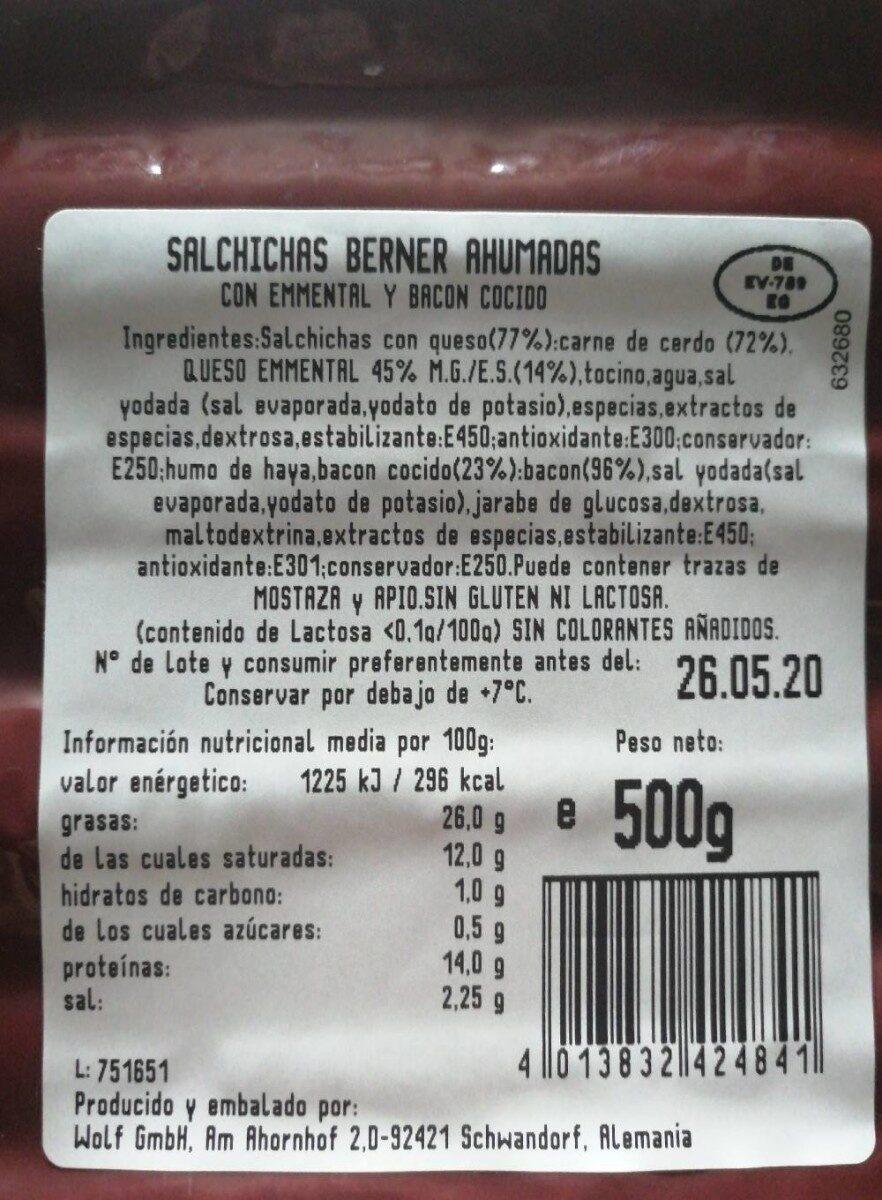 Salchichas berner ahumadas - Nutrition facts - es