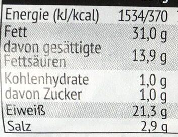 Hüttensalami - Nährwertangaben - de