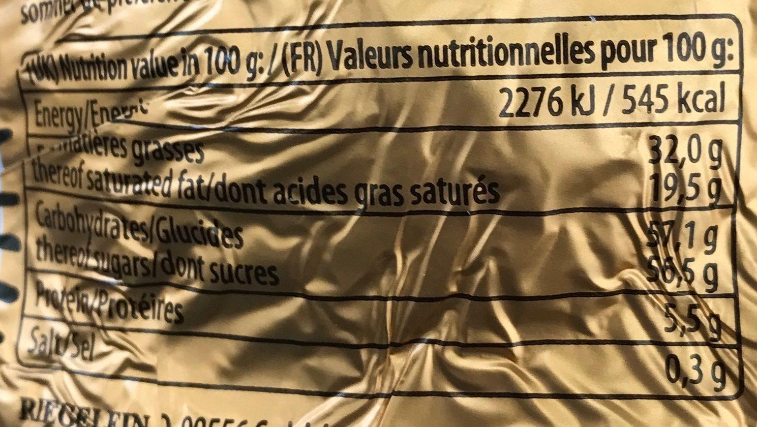 Confiserie chocolat au lait - Nutrition facts - fr