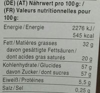Lapin rieur - Nutrition facts