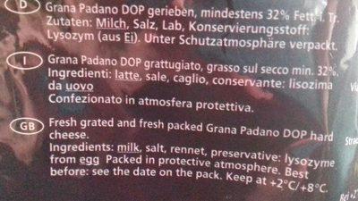 Grana Padano - Ingrédients - fr