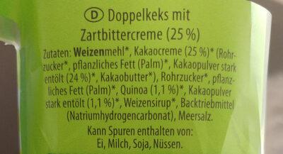 Doppel Keks, Mit Quinoa Und Zartbitter-creme - Ingredients