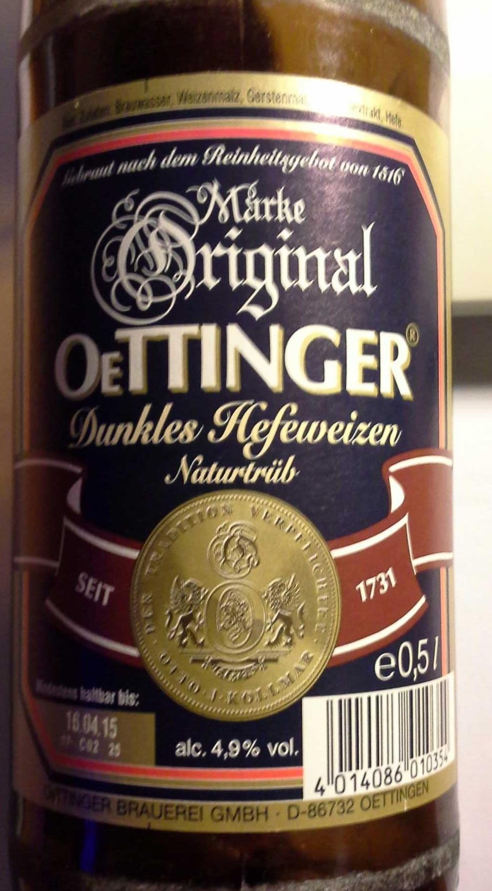 Oettinger Dunkles Hefeweizen Naturtrüb - Produkt