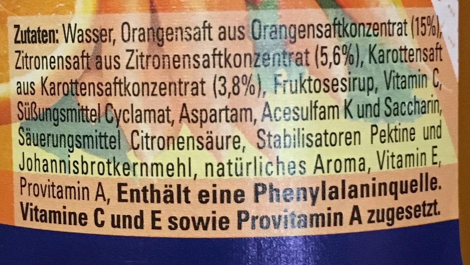 Oettinger Glorietta Ace, Orange Karotte - Ingrediënten - de
