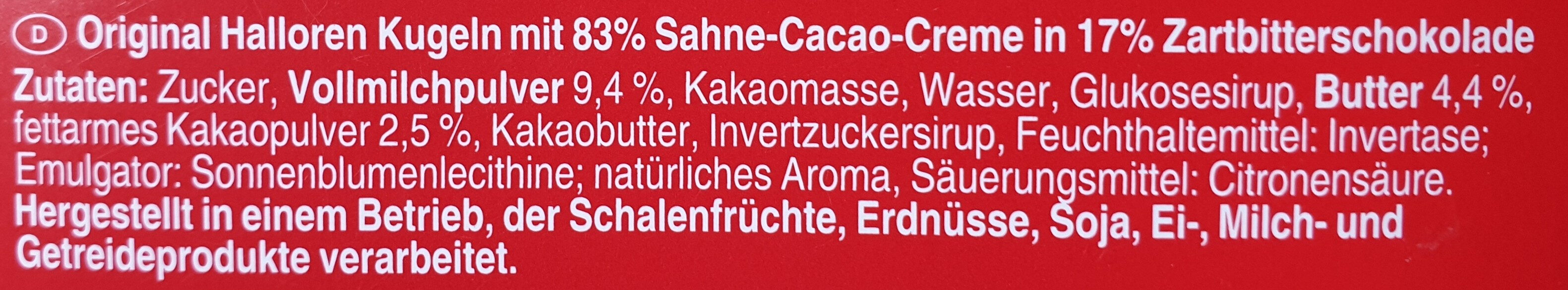 Original Halloren Kugeln Sahne-Cacao - Ingrédients