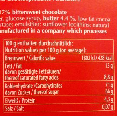 Halloren Original Halloren Kugeln Sahne cacao Classic - Nährwertangaben