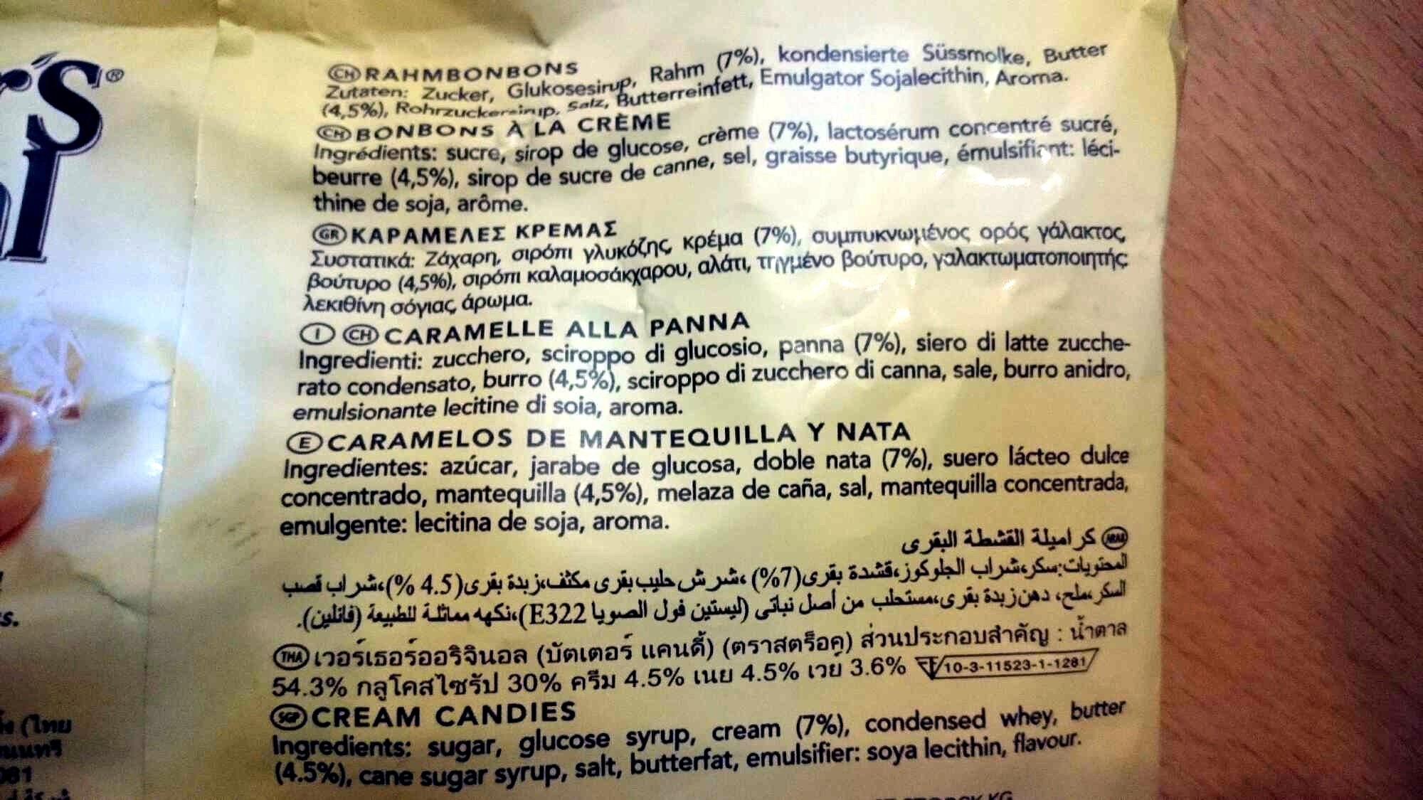 Original classic cream candies - Ingredients - en