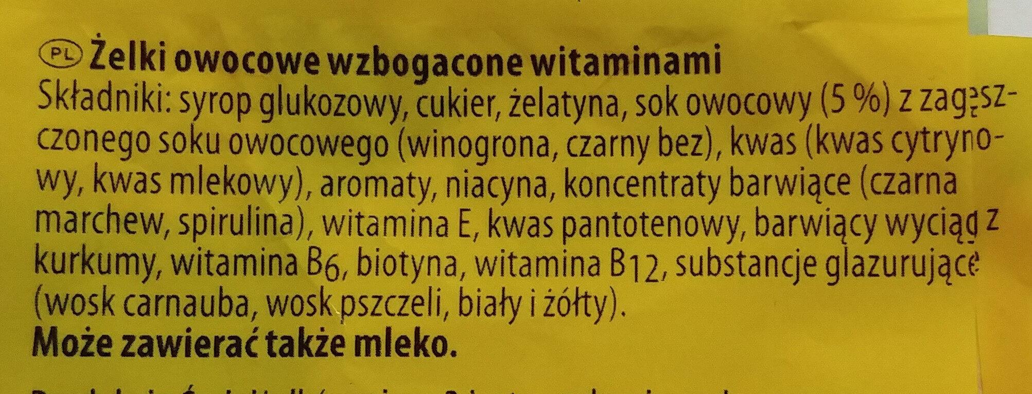 Żelki owocowe wzbogacone witaminami - Składniki - pl