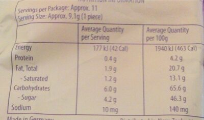Werther's original - Informations nutritionnelles - en