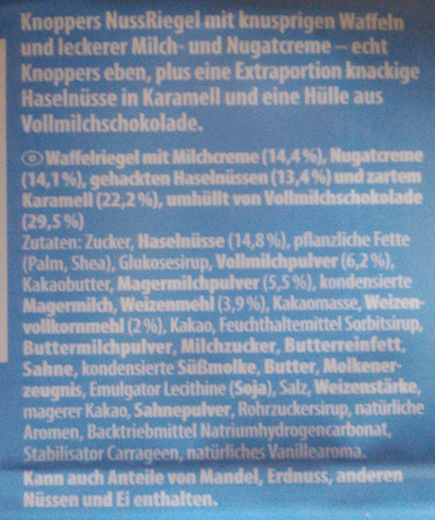 Knoppers Nussriegel 5er Multipack - Ingredients