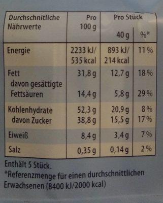 Knoppers Nussriegel 5er Multipack - Nutrition facts