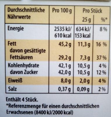 Merci Tafelschokolade Weiße Kokos - Nährwertangaben