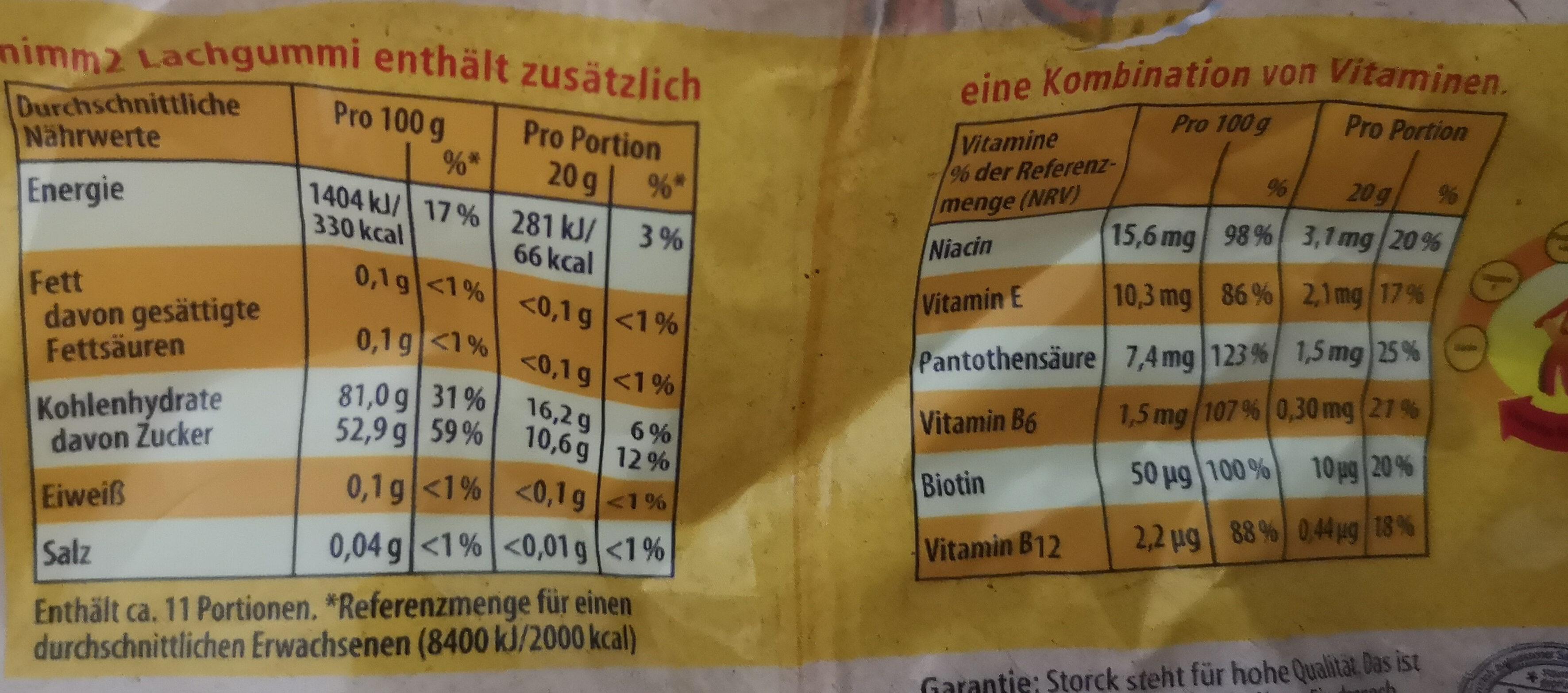 Lachgummi frutivity - Nutrition facts