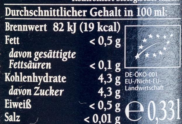 Bionade Ingwer-Orange - Informations nutritionnelles