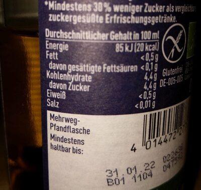 Bionade Streuobst - Valori nutrizionali - de