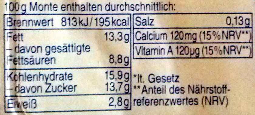 Monte Maxi - Nutrition facts - de