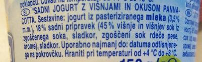 Sadni jogurt z višnjami in okusom pannacotta - Ingredients