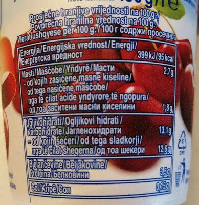 Sadni jogurt z višnjami in okusom pannacotta - Nutrition facts