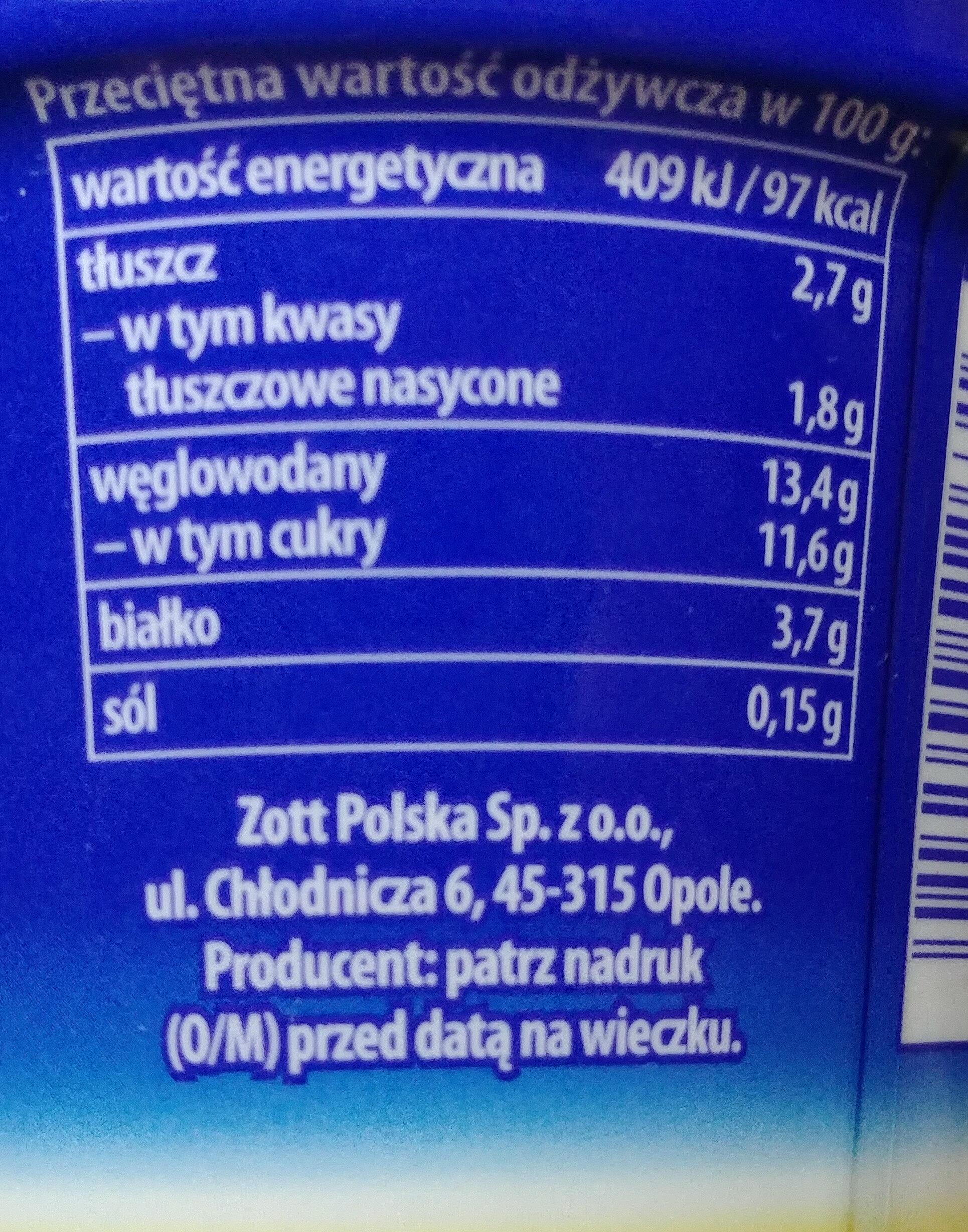Jogurt z ananasem i bananami oraz ośmioma zbożami. - Nutrition facts