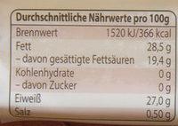 Bayerntaler - Informations nutritionnelles - de