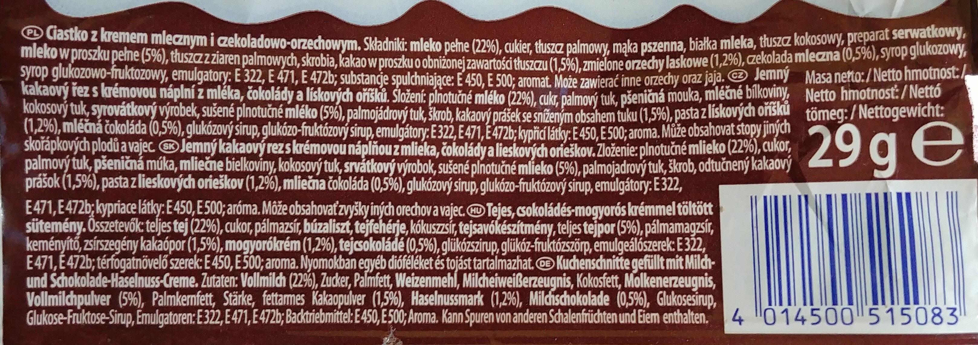 Ciastko z kremem mlecznym i czekoladowo-orzechowym - Ingrediënten - pl