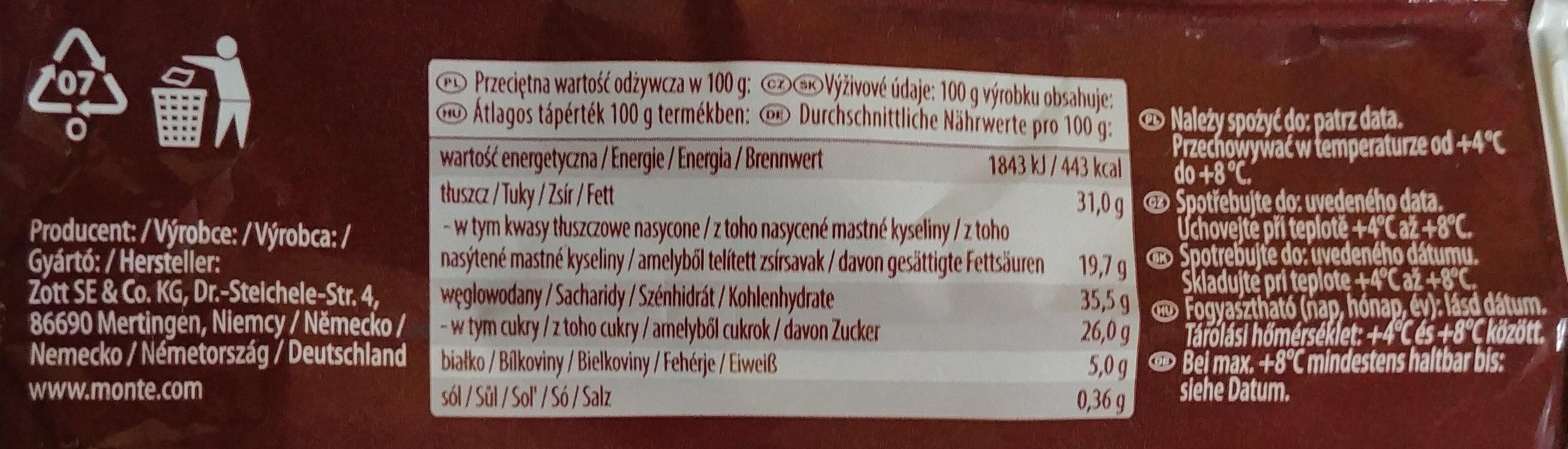 Ciastko z kremem mlecznym i czekoladowo-orzechowym - Wartości odżywcze - pl