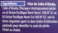 Portions de filets de Colin d'Alaska, surgelé - Ingrediënten