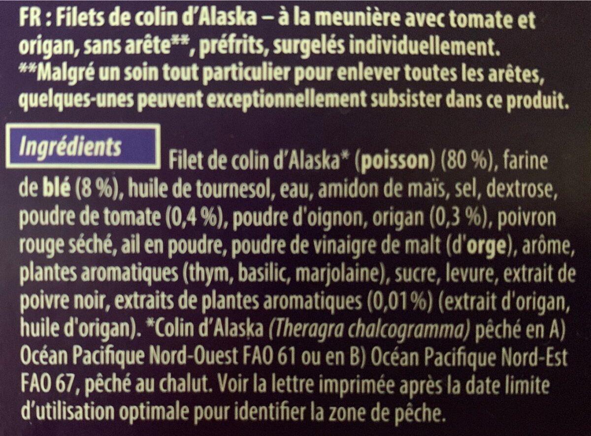 Filets de Colin d'Alaska à la meunière - Ingrediënten - fr