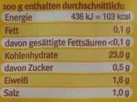 Kloßteig nach Thüringer Art - Nutrition facts - de