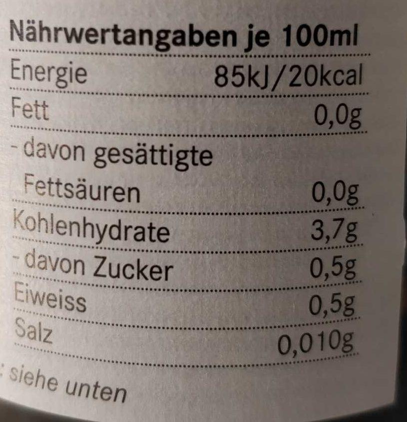 Frei-Bier - Nährwertangaben