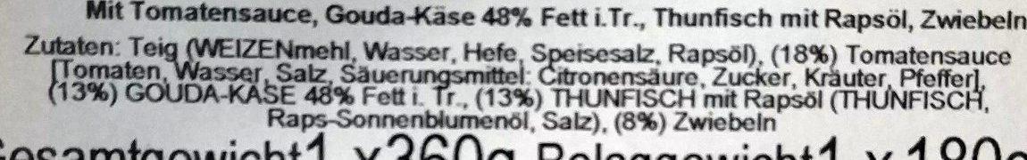Pizza Thunfisch - Ingrediënten - de