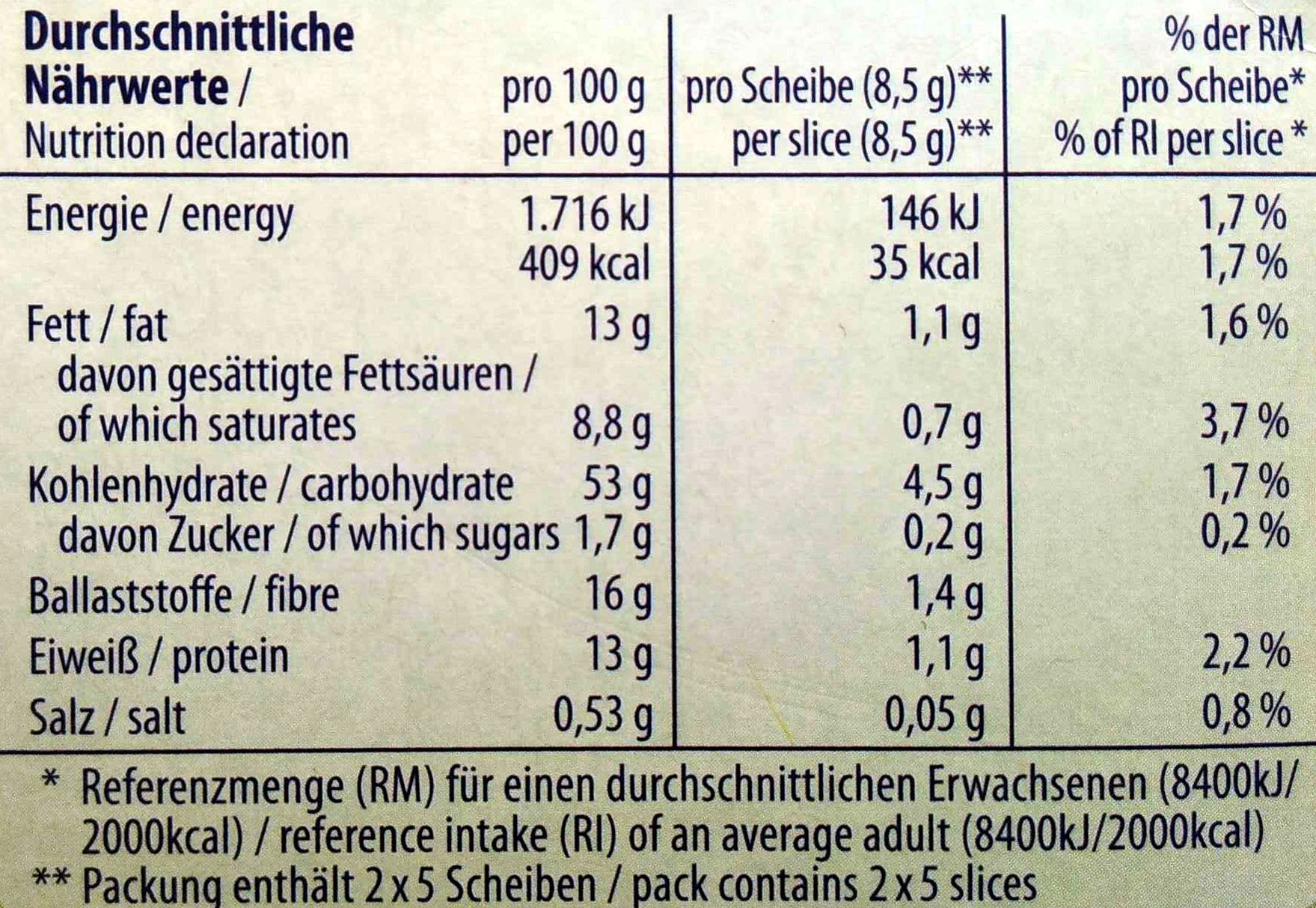 Filinchen Chia & Sesam - Nutrition facts