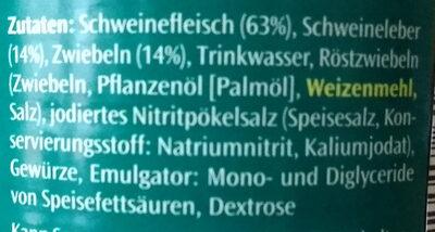 Zwiebel-Leberwurst - Ingrédients - de