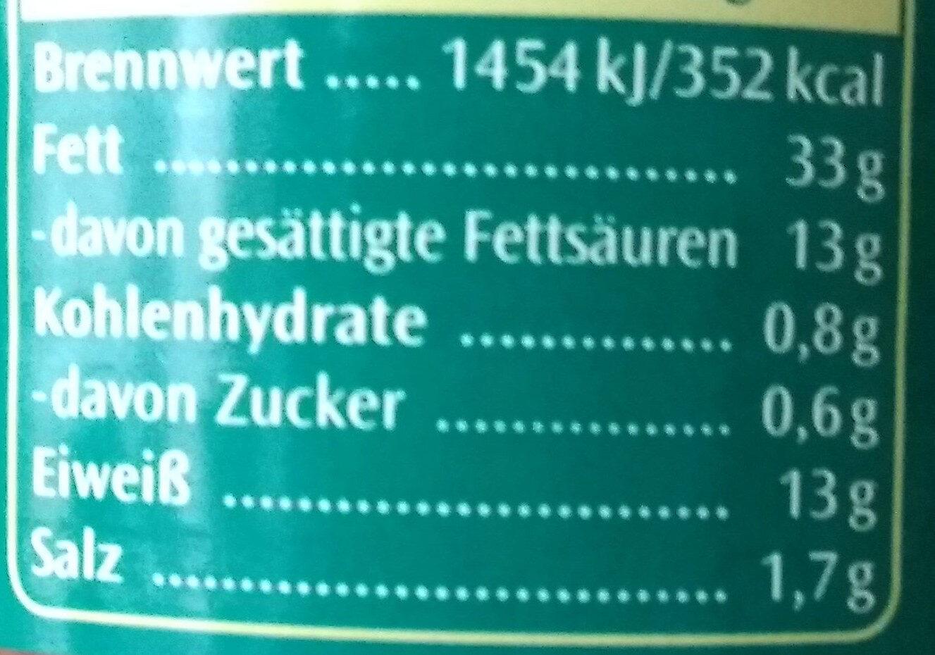 Zwiebel-Leberwurst - Informations nutritionnelles - de