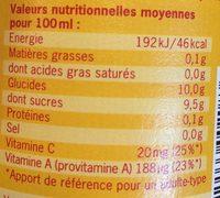 Jus Multi Nature - Informations nutritionnelles
