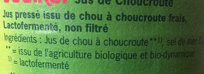 Jus De Choucroute Lacto-fermenté - Ingrédients