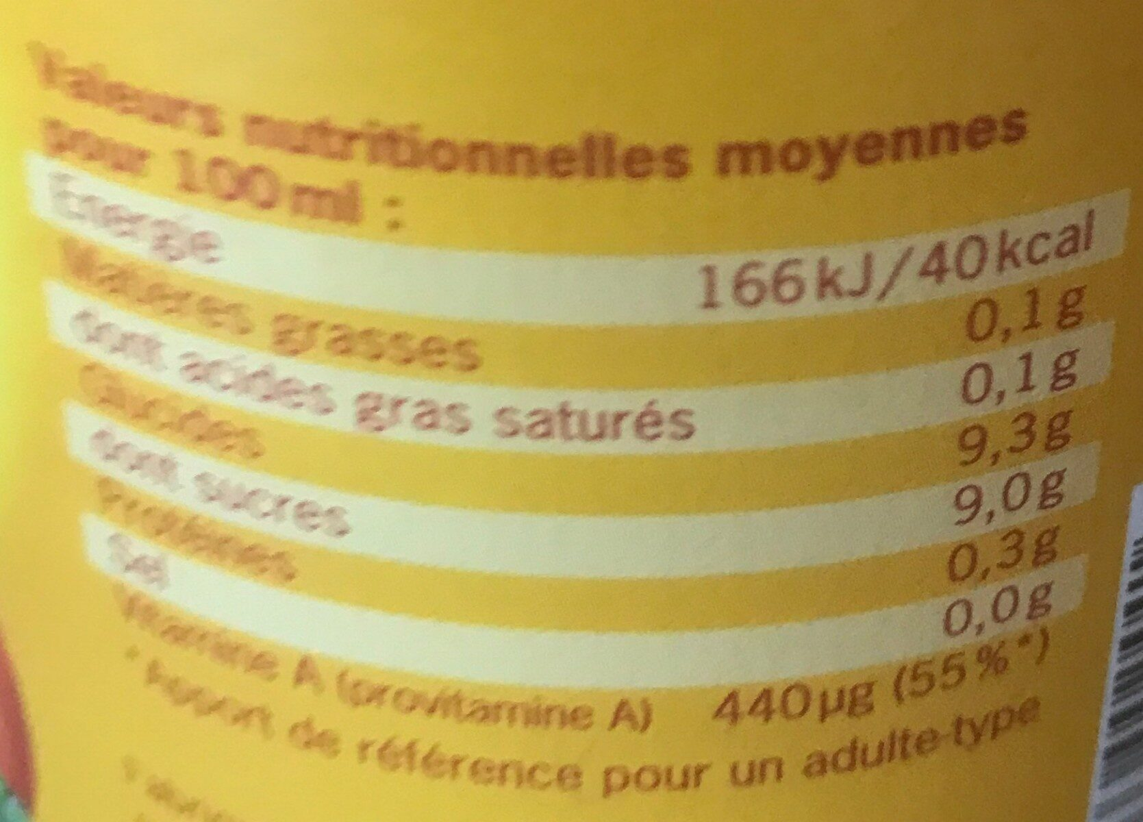 Jus De Pomme-carotte - Nutrition facts - fr