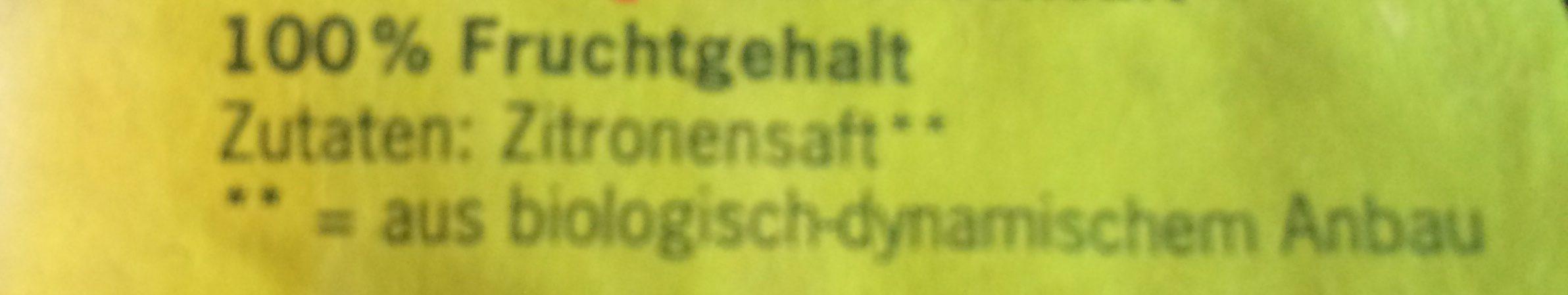 Zitronensaft, Voelkel, 100 % Fruchtgehalt - Ingredienti - fr
