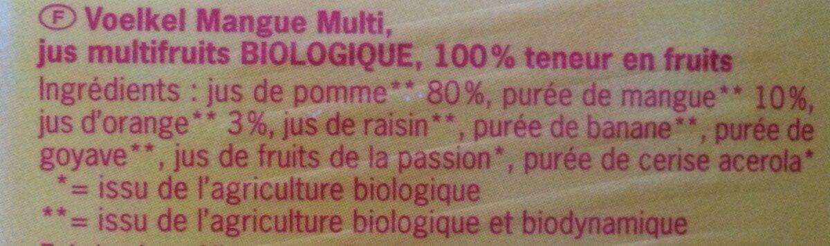 Jus Mango Multi-fruits - Ingrédients