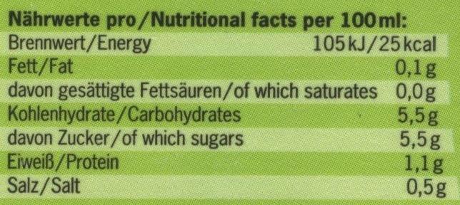 Cocktail de légumes - Informations nutritionnelles - fr