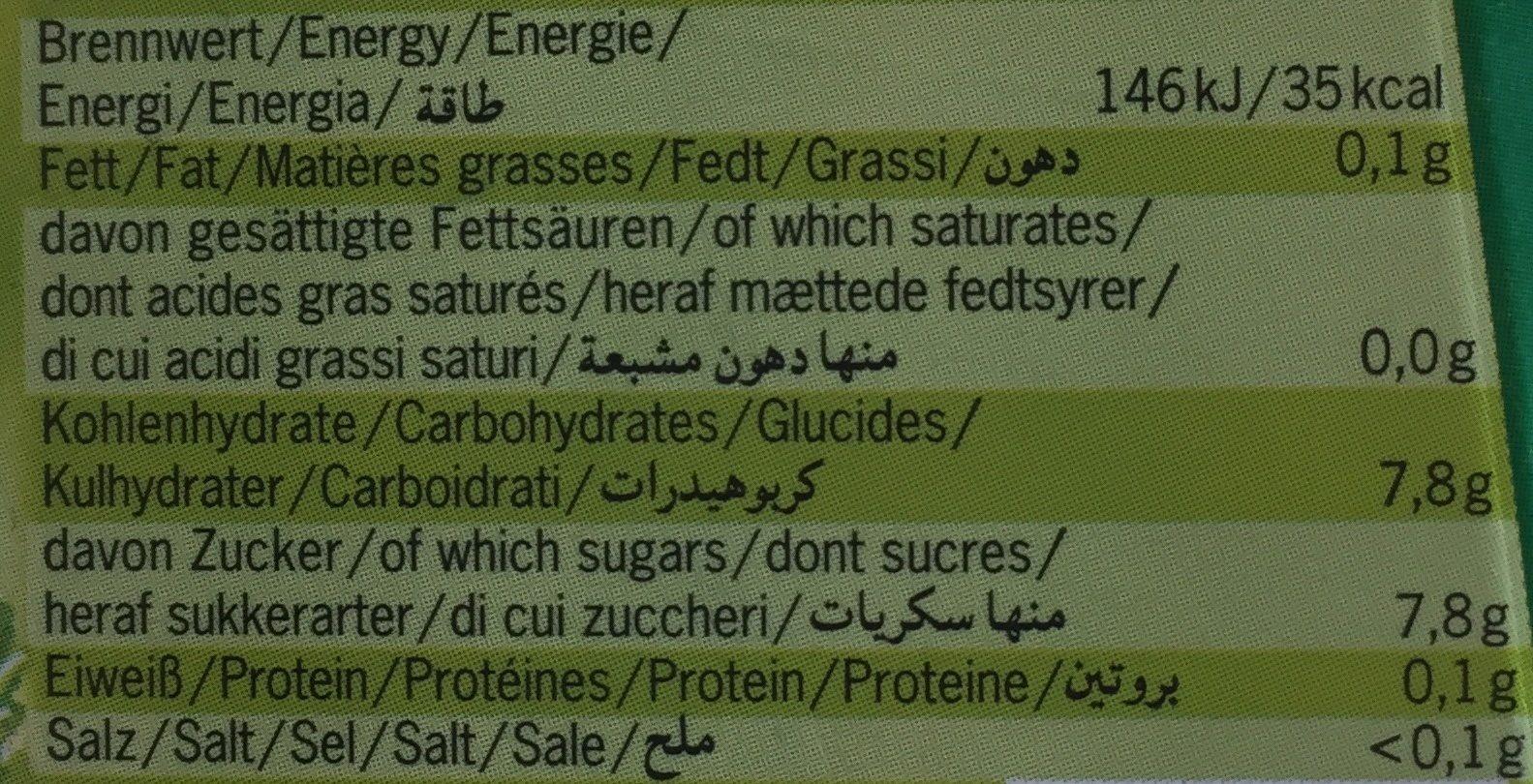 Jus Carotte Lacto-fermenté - Informations nutritionnelles