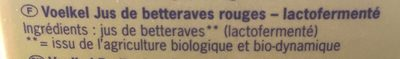 Jus Betteraves Rouges Lacto Fermente Tetra - Ingredients - fr