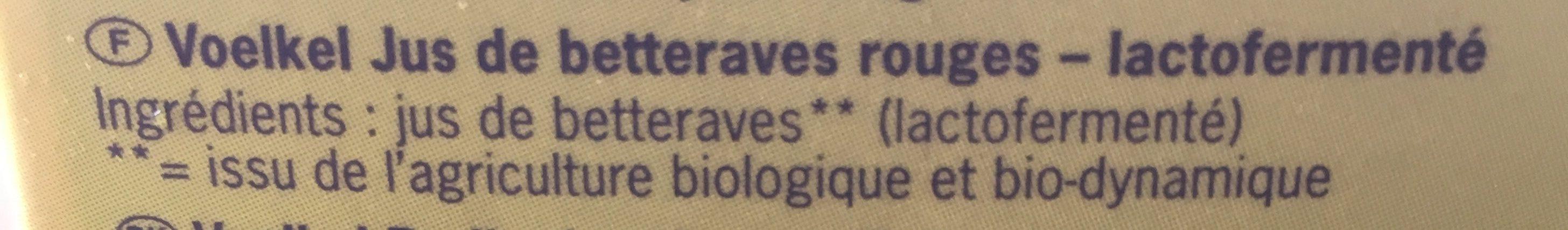 Jus Betteraves Rouges Lacto Fermente Tetra - Ingrédients