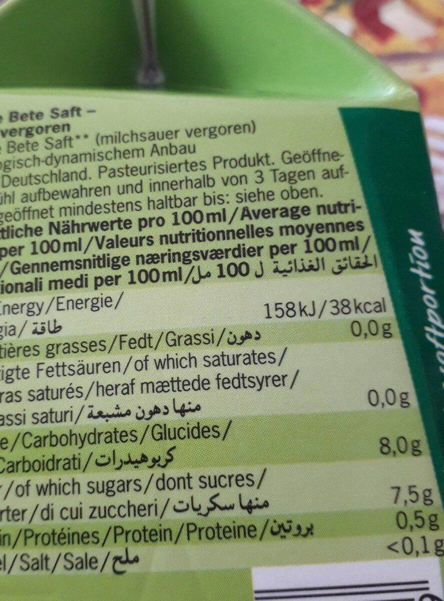 Jus Betteraves Rouges Lacto Fermente Tetra - Nutrition facts - fr
