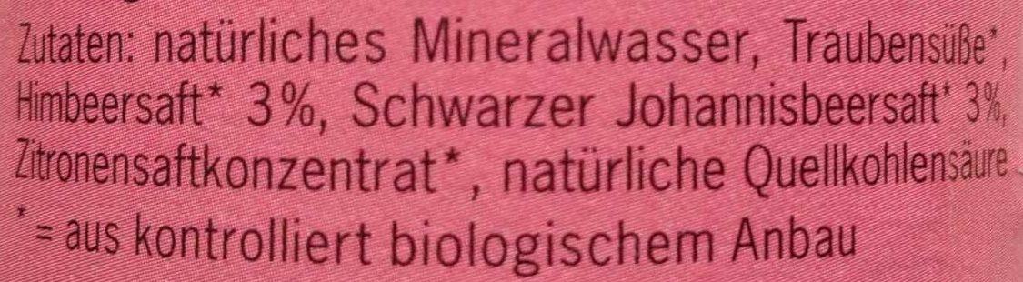 BioZisch Himbeer Cassis - Ingredients - de