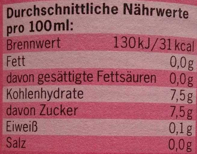 BioZisch Himbeer Cassis - Nutrition facts - de